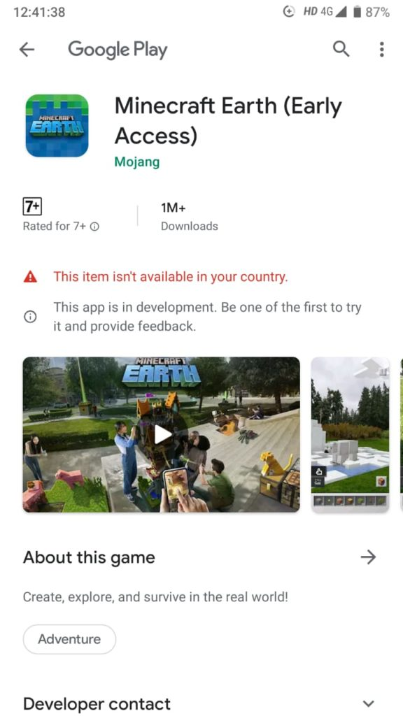 Minecraft Earth Not Available in Your Country