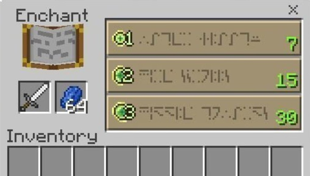 minecraft enchantment table language