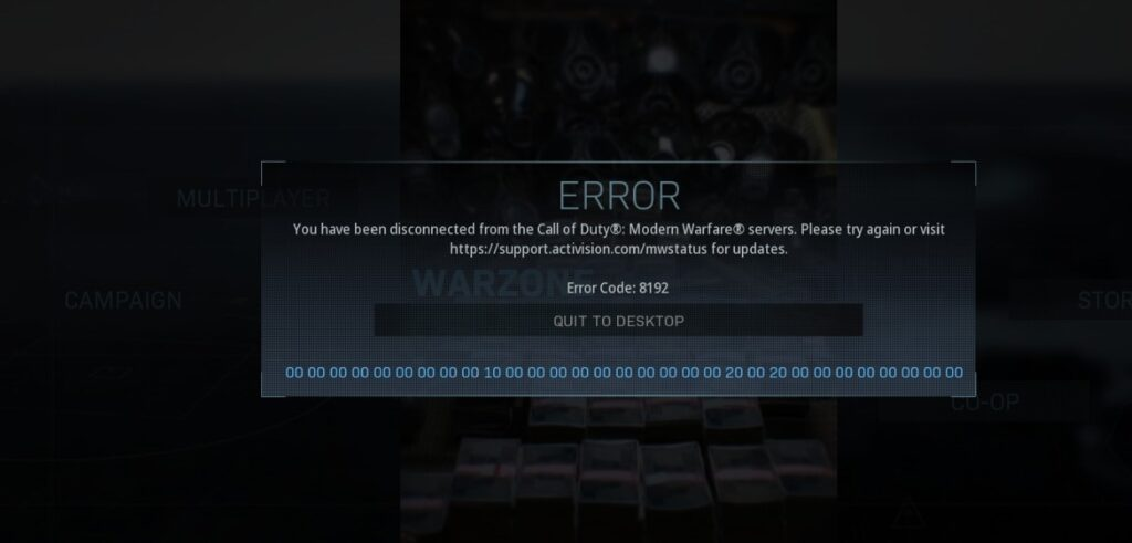 call of duty error code 8192