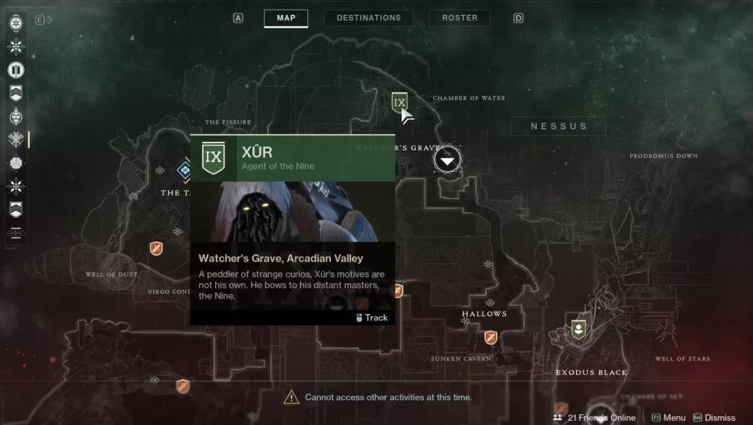 Destiny 2 Xur Location November 20