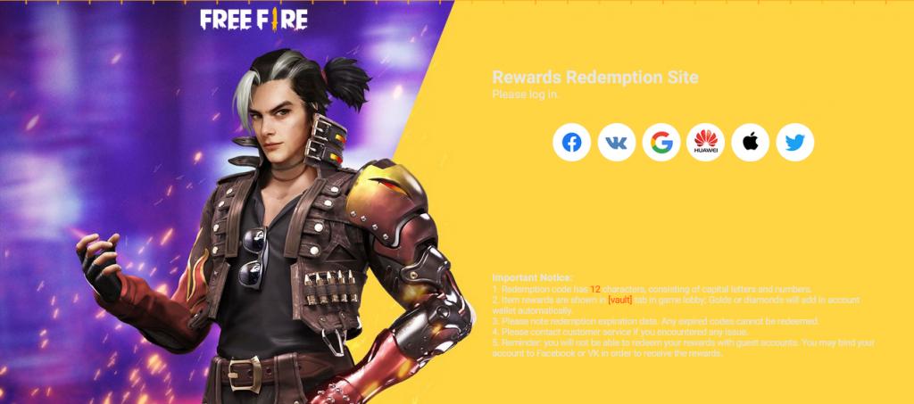 free fire redeem code june
